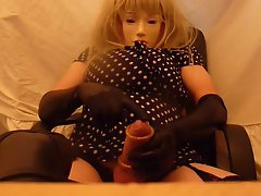crossdresser plasticface cums on black boots