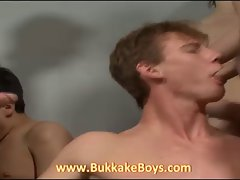 Bukkake and deep throat orgy