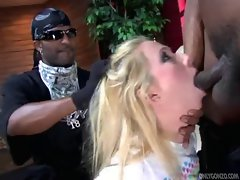 Submisive blond girl ruined by big black cocks