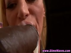 Hot blonde gets her fetish desire with big black cock facial