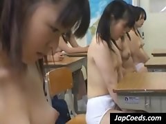 Nasty Asian coeds showing boobies