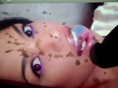 Nice looking Brown Face splattered - Cum on Screen