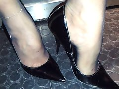 heels feets in nylon
