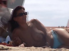 dark haired french topless shocking tunesia beach nude