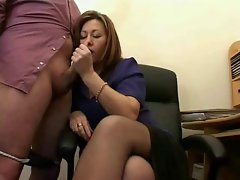 Lewd Experienced Secretary Jerks The Jizz From Bosses Phallus !