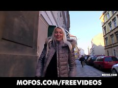 Platinum tempting blonde Czech young woman is picked up in the street