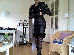 Sissy luscious black leather dress 2
