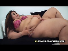 Asian SSBBW rubs her big soft belly