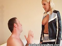 Sandie Caine punishes a chap with her twat by sitting on his face