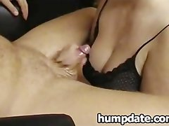Solid slutty girl gives handjob and gets jizzed