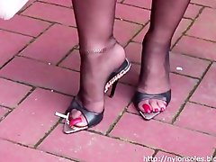 Ebony stockings and high heel mules