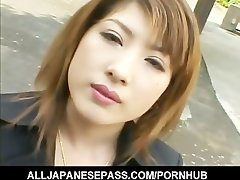 Alluring Seductive japanese slutty girl with cum on her large melons
