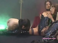 Mistress In Latex Lingerie Getting Her Nipples And Fingeres Stroked Twat Caressed Hooters Rubbed By 2 Sla