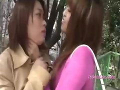 Asian Girlie Kissed Getting Her Tongues Stroked Face Caressed Stifled By Other Cutie In The Park And In Th