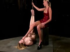 Bound useless slave pleasures master by licking snatch