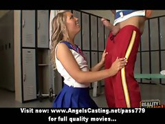 Charming great sensual blond cheerleader luscious teen doing dick sucking