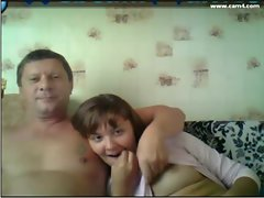 Father and daughter in love watching TV