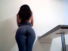 Beauteous dark haired showing her irreproachable big naughty bum