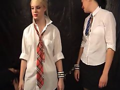 Schoolgirl with collar up gets disciplined and filthy
