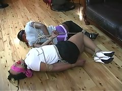 Ebony Ladies in Rough Hogtie