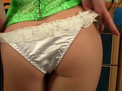 tattooed saucy teen tease in ruffled shiny panty (solo softcore)