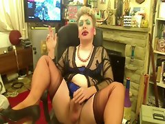 Wanking Sissy Fellow in Stockings